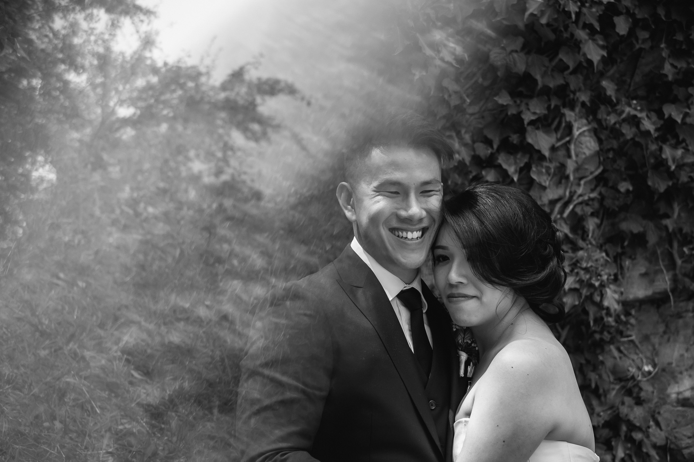 Lynsey and Kai Melbourne forest wedding portrait