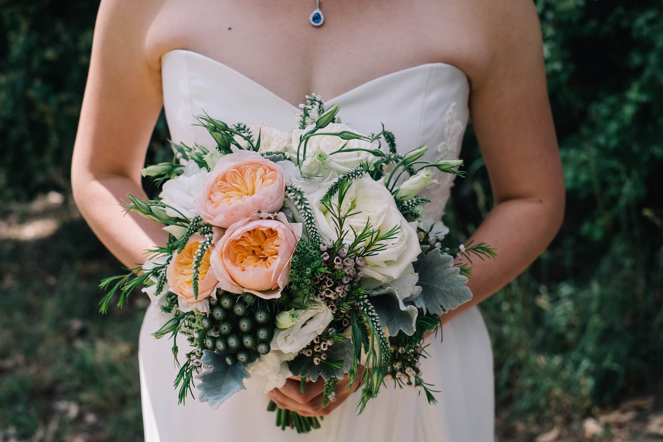 Lynsey and Kai's Melbourne wedding - bridal bouquet with peonies