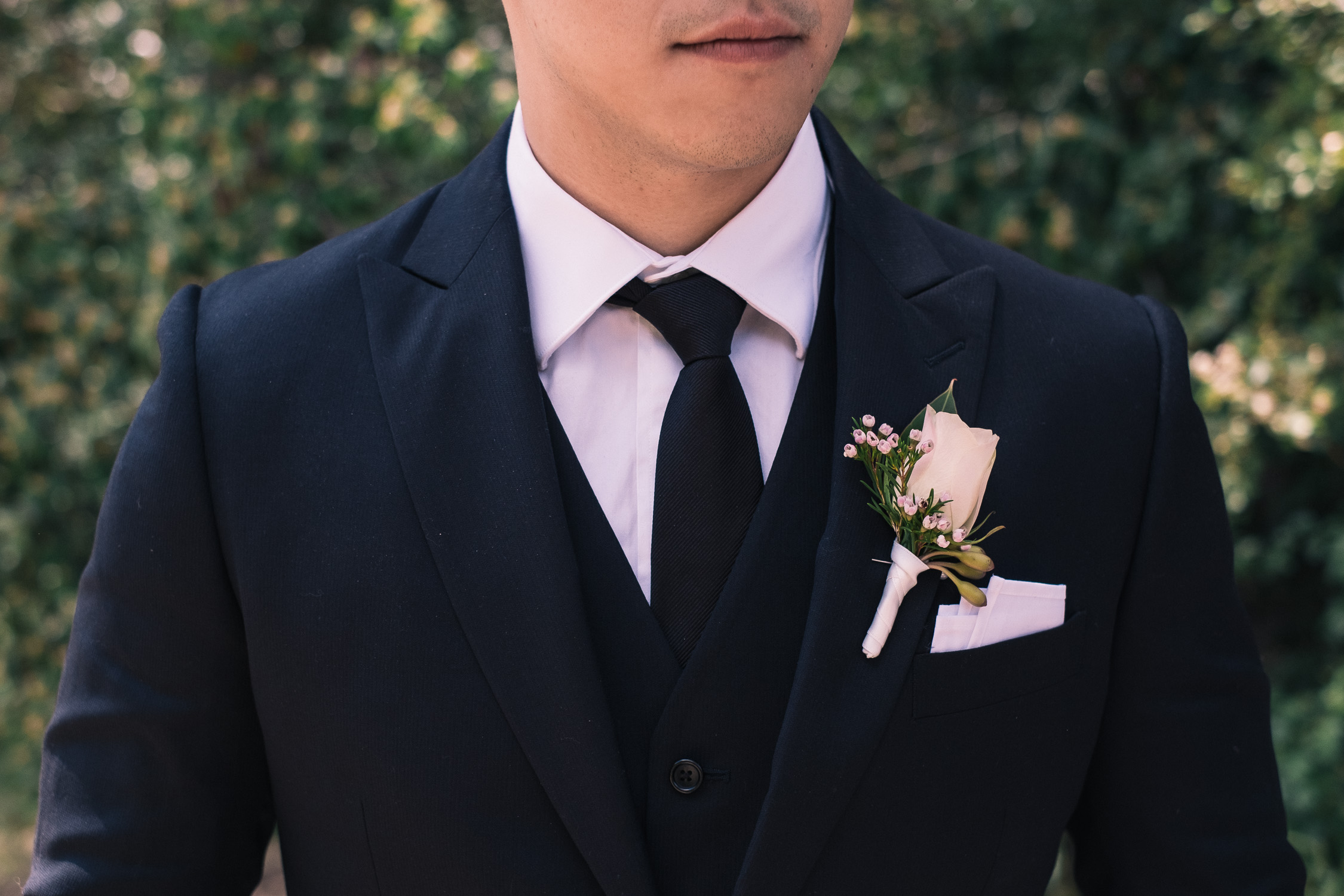 Lynsey and Kai's Melbourne wedding - groom's boutonniere
