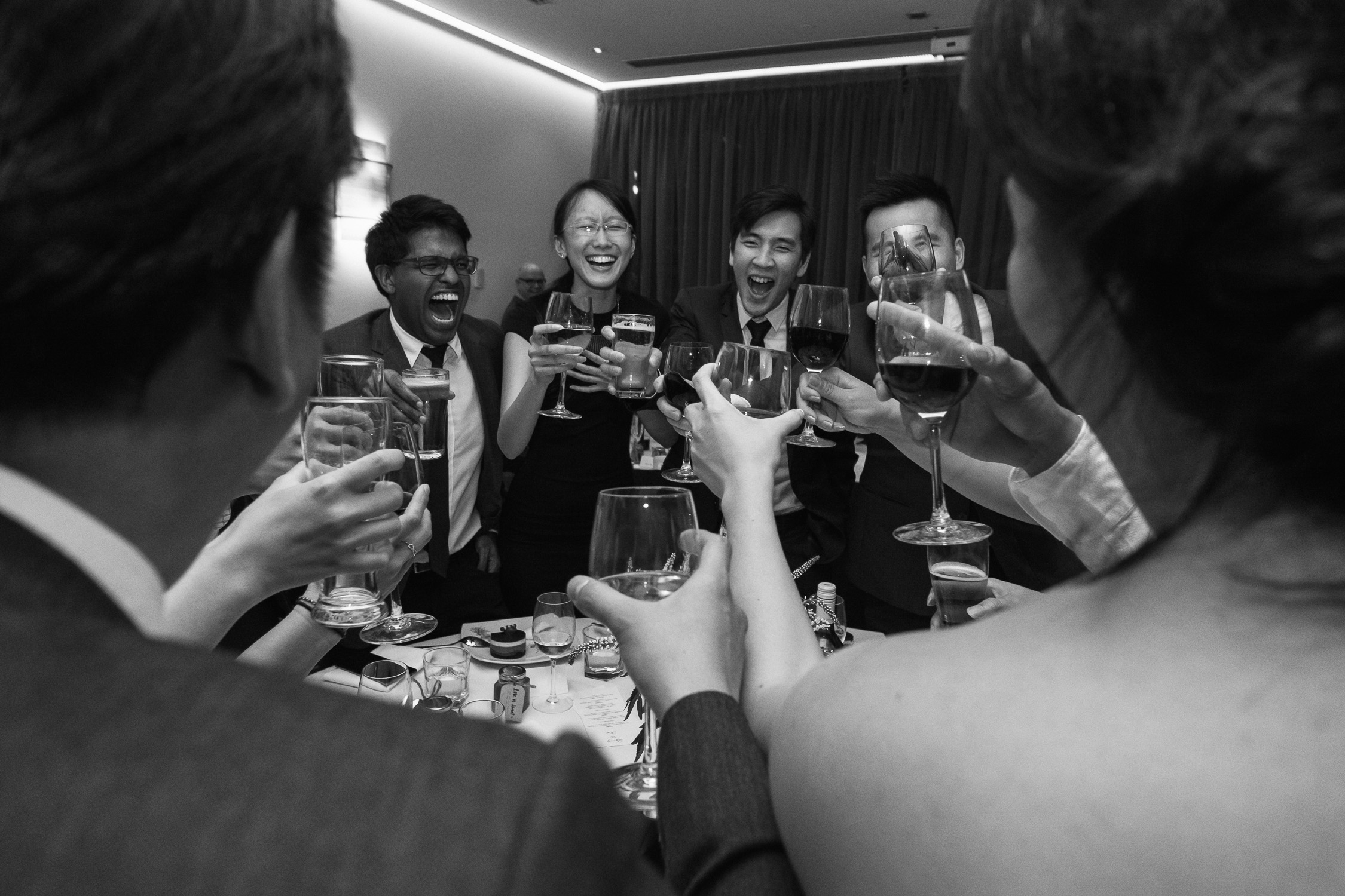Lynsey and Kai's Melbourne wedding - yumseng cheers at wedding reception at the Marriott Hotel