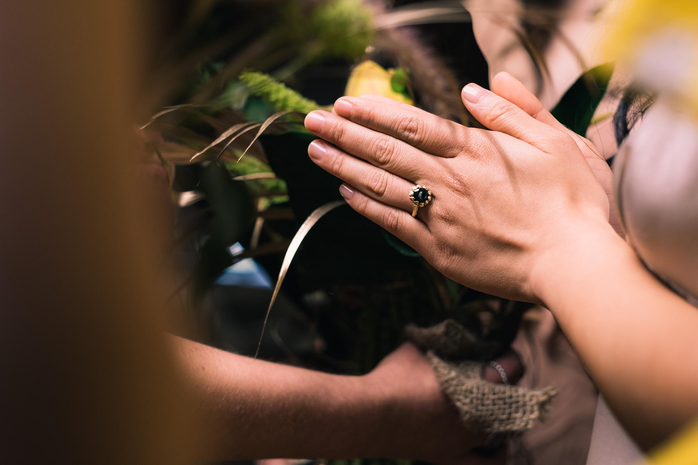 Melbourne Sunnystones Camp Wedding - Bride and bridesmaid praying before ceremony