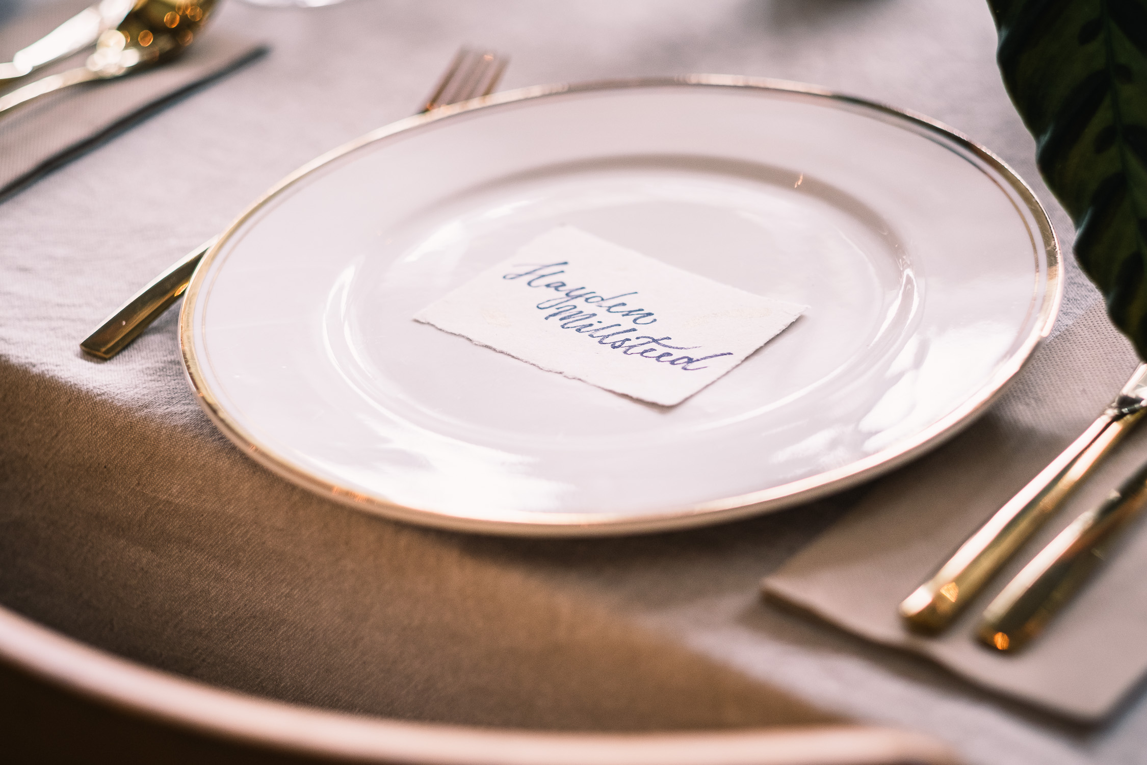 Melbourne Sunnystones Camp Wedding - personal china dishes and calligraphy name cards