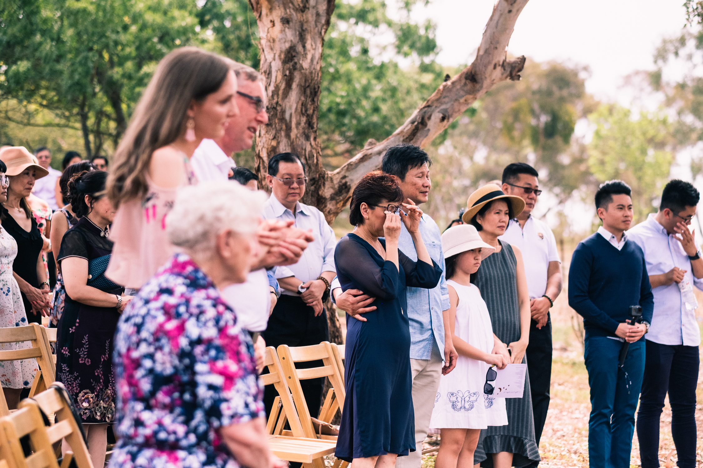 Melbourne Sunnystones Camp Wedding - Parents crying during ceremony