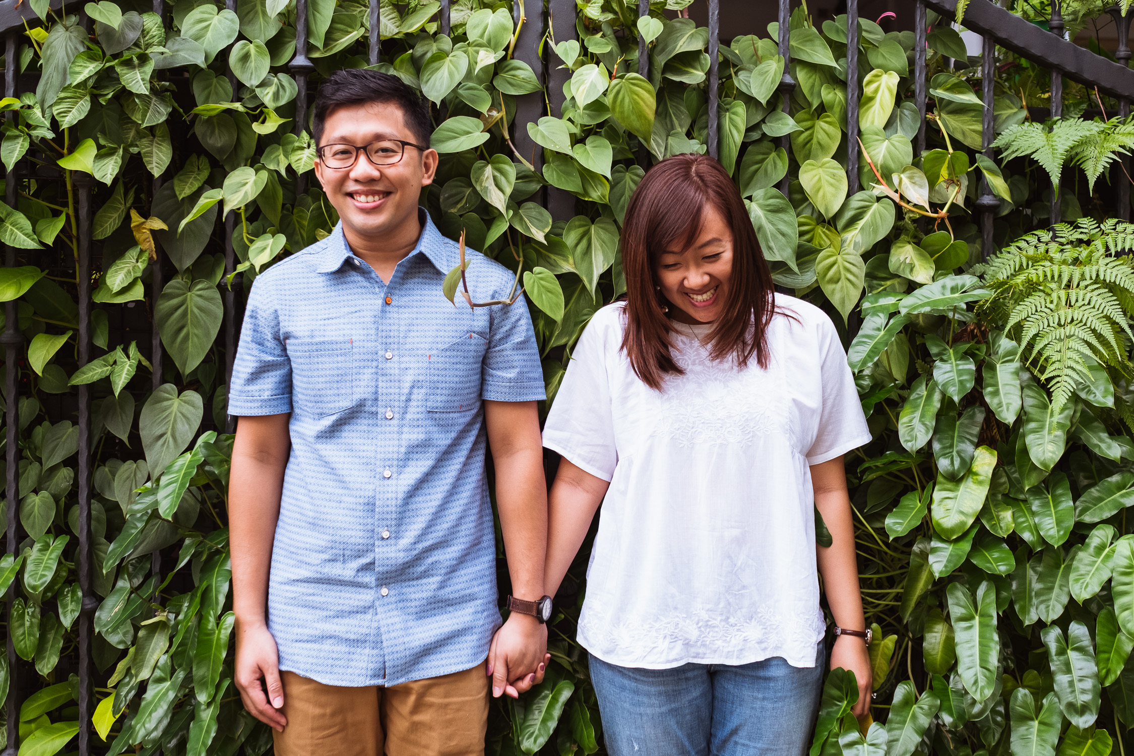 Smiling couple in Singapore prewedding shoot