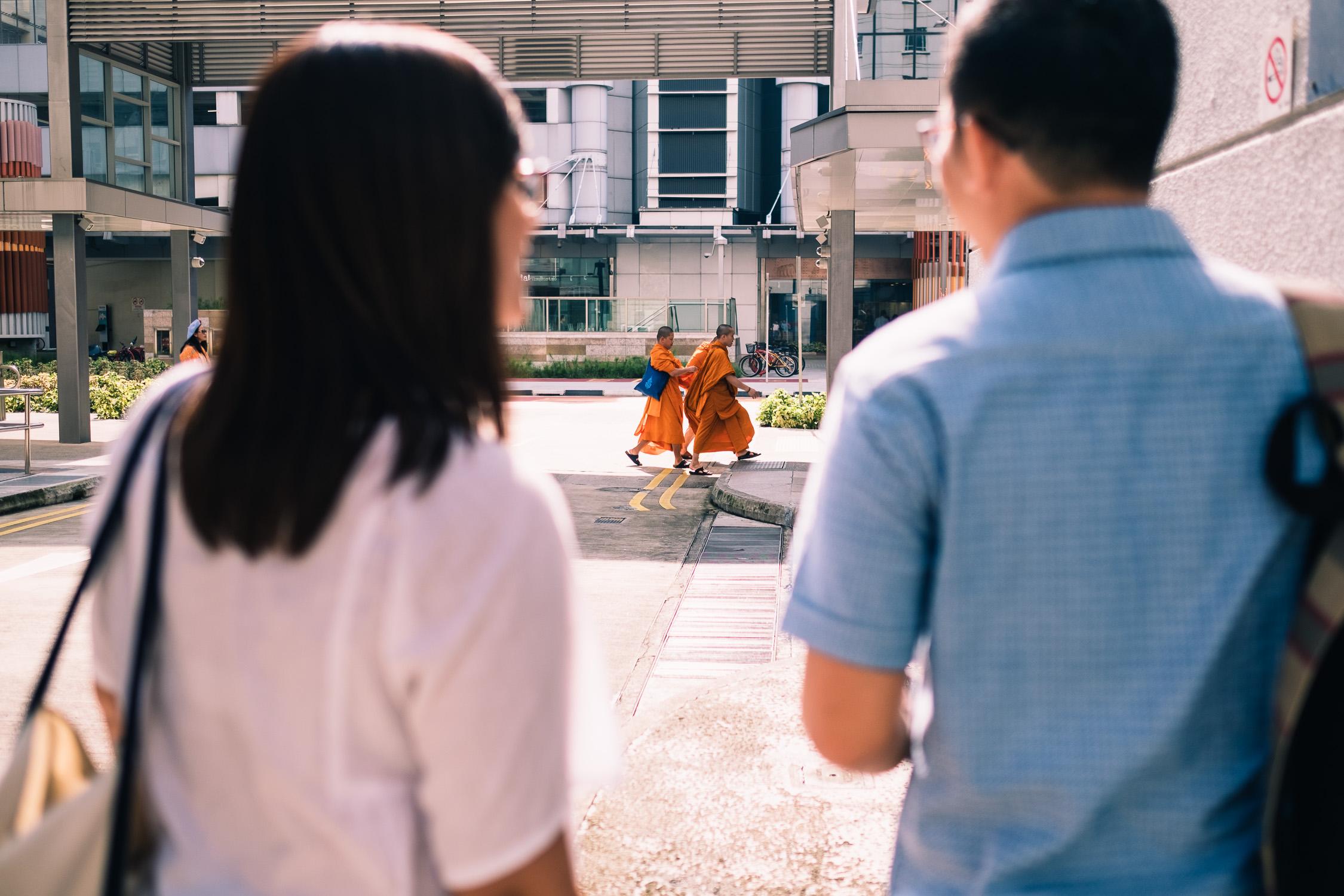 Passing monks in Singapore prewedding shoot