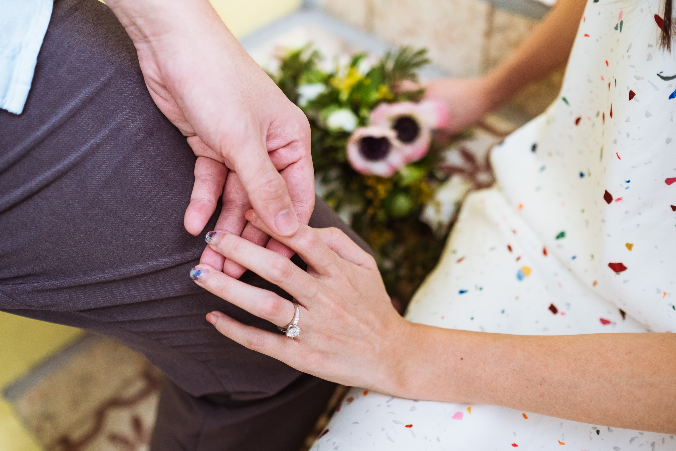 Gentle touch of hand with diamond ring in Singapore prewedding shoot
