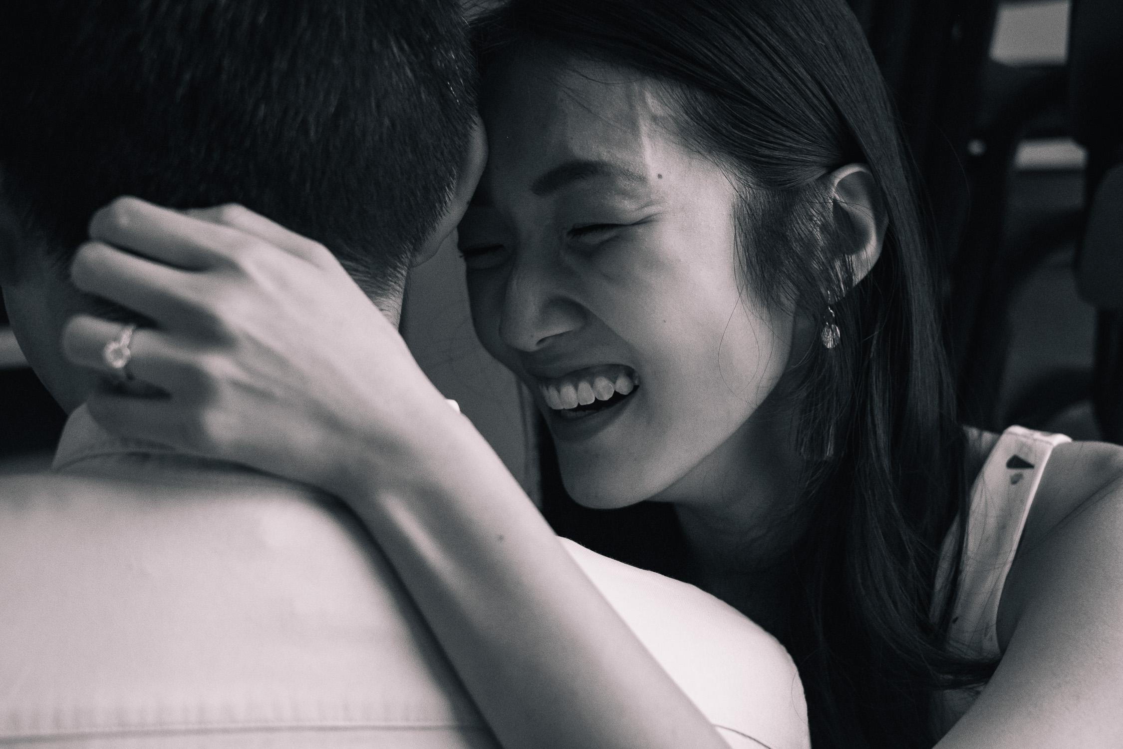 Laughing girl at prewedding couple shoot