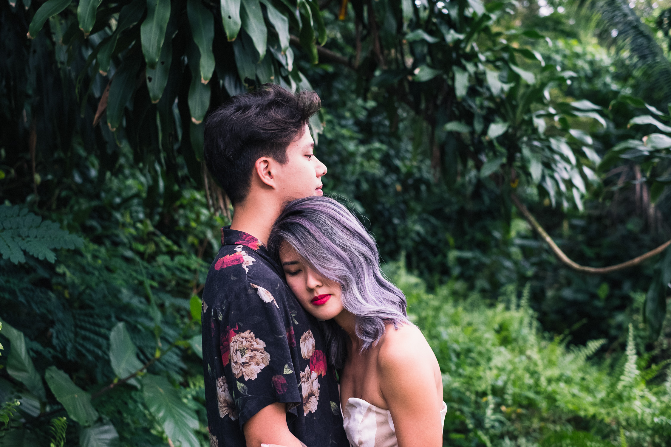 Suwan and Jean Francois from their Singapore prewedding forest shoot - purple hair floral shirt