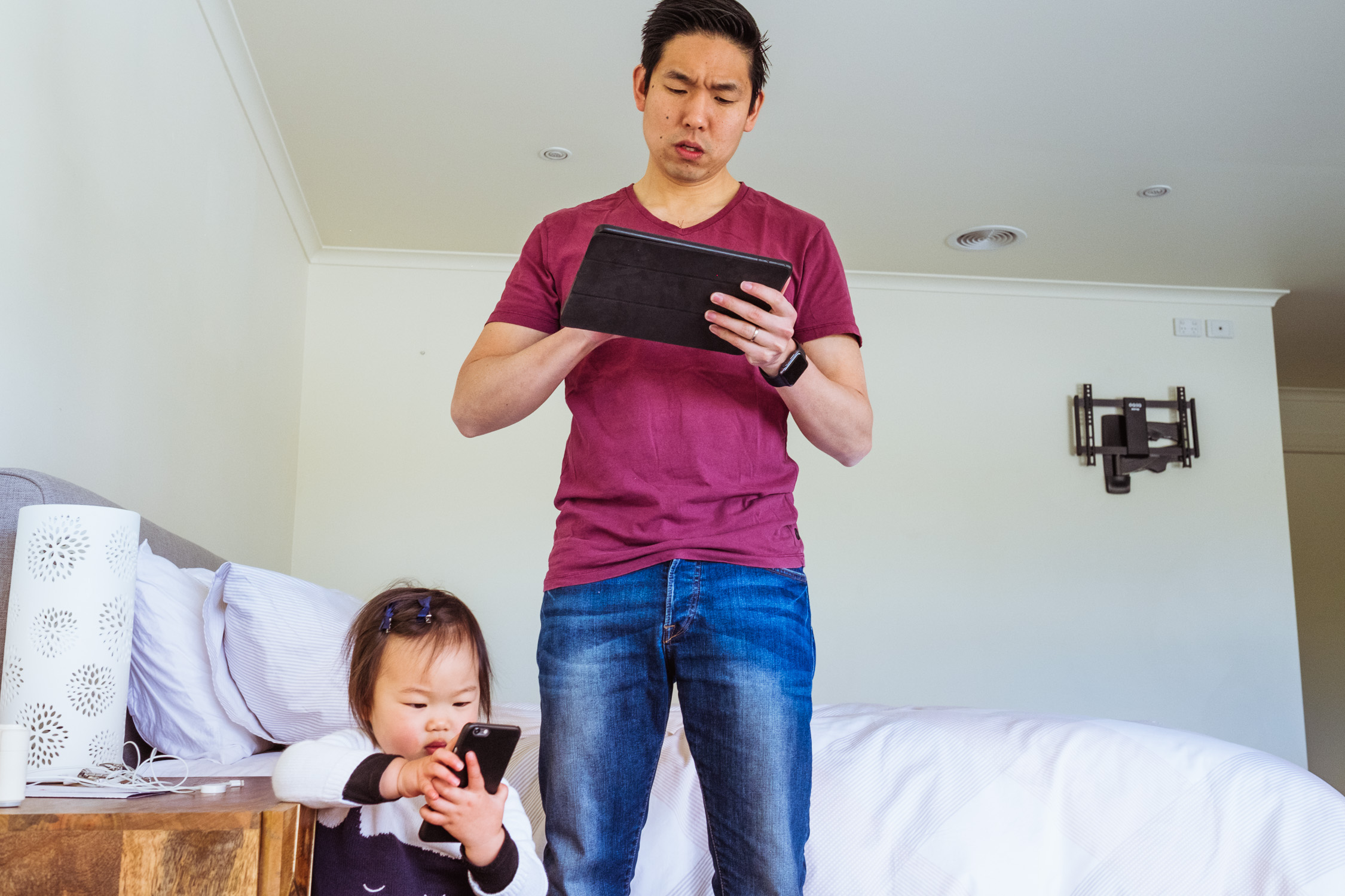 Day In The Life - dad and toddler using digital devices